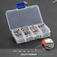 100Pcs Fishing Solid Stainless Steel Snap Split Ring Lure Tackle Connector