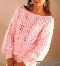 """Knitting Pattern For Ladies Fashionable Bobble Jumper Sweater DK 30""""-40"""""""