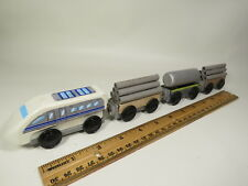 Thomas, Brio, Ertl and more White Wooden Train Engine with Three Freight Cars