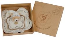 Doudou et compagnie Ours Bear Bar Orso Teddy coton bio à broder plat aïda blanc