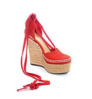 Schutz Womens Kivia Summer Red Platform Heel Espadrille Wrap-Tie Closure Sandals