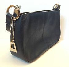 LAURA SCOTT Purse Shoulder Handbag in Midnight Navy/Black White Trim Cloth Inter
