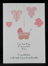 Large Personalised Handmade New Baby Girl or Granddaughter Card by Bijou Crafts