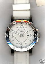 NWT Fossil Bryson BQ1022 Three-Hand White Dial White Silicone Straps Men's Watch