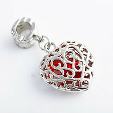 Red crystal Silver Heart Pendant Charm White Gold Filled fashion jewelry