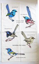 Blue Wren Tea Towel - Cotton Natural/Cream background 2014 Bird Design