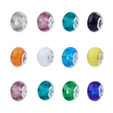 100pcs Handmade Luminous Lampwork Glass European Beads Large Hole Charms 14mm