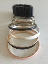Lots of Bangles Bracelets - Gold, Pink, Black And Silver Wide thin chunky