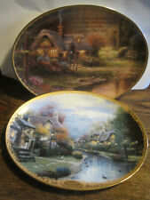 Thomas Kinkade Meadowbrook Village&Lamplight Brooke 2 Plates- Bradford Exchange