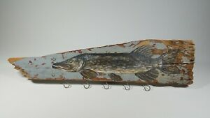 """RUSTIC FOLK ART PAINTED FISH KEY & JEWELRY HANGING RACK 23"""" one of a kind"""