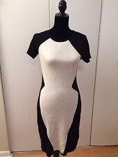 Dorothy Perkins Women's Dress Black White Short Sleeve Sweater Dress Size UK 12