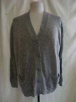Ladies Cardigan - Damart, size 14/16, grey/white mix, V neck, used - 0021