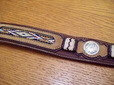 Tony Lama Western Brown Leather Belt Southwest Tapestry & Silver Conchos 32
