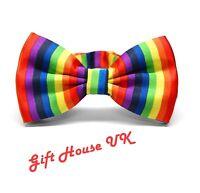 Rainbow Bow Tie Satin Adjustable Multi Colour Clown Gay Pride Fancy Dress style1