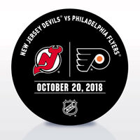 Philadelphia Flyers Issued Unused Warm Up Puck 10/20/18 Vs New Jersey Devils