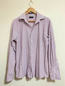 Pierre Cardin Long Sleeve Work Dress Shirt Euro Cut 40/87 Pink Blue White Check