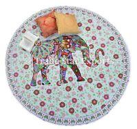 "Indian Round Elephant Mandala Beach Blanket Throw 72"" Beautiful Roundie Yoga Mat"
