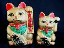 2 giapponese 21 & 16cm ORO Lucky Cat Ornamento Money Box Cinese Festa shop A2