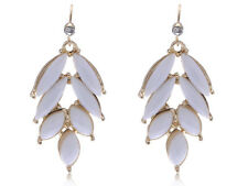 Fashion White Golden Oval Stones Stylish Rhines Dangle Earrings Drop Jewelry New