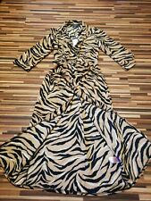 BNWT NEW LADIES SIZE 4 PRIMARK ANIMAL PRINT LONG BUTTON UP DRESS + BELT