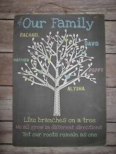 Handmade Wall Plaque Sign Personalised Family Tree Wedding Anniversary Gift