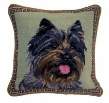Cairn Terrier Dog Portrait Wool Needlepoint Throw Pillow 10""