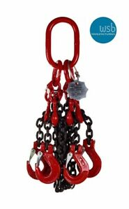 7mm 1, 2, 3 & 4 leg Grade 8 chain slings with Sling Hook or Safety Hook