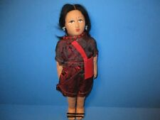 Vintage Stockinette Face Cloth Doll Hand Painted Asian Souvenir Woman Girl 8 ""