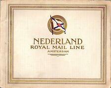1920s Nederland Line Deluxe Fleet Interiors Brochure w/ Color Interior Images