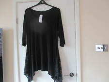 YOURS  CLOTHING - WOMEN'S BLACK TOP WITH LACE INSERTS SIZE 18 - NEW WITH TAG