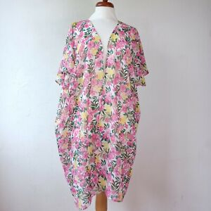 New Look Pink Yellow Floral Beach Cover Up Jacket Size M 12/14