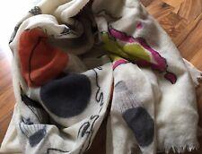 CODELLO-Damen-Tuch-Schal-Stola-100%Wolle-Ballon-Print-Pailletten-Creme-Fransen