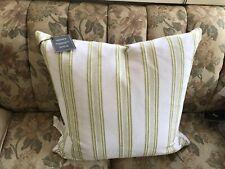 Lacorte Decorative Pillow 22x22 Striped Green & White Decorative Pillow
