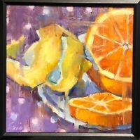Bright Still Life oil painting original framed signed impressionism Art