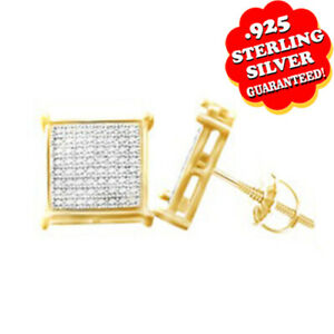 Natural Round Brilliant Cut 10K Yellow Gold Over Silver Diamond Stud Earrings