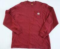 Carhartt Mens Red Long Sleeve Pocket Tee T SHIRT Work SIZE LARGE