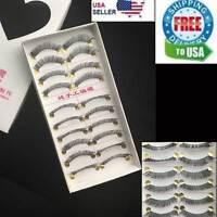 10 Pairs False Eyelashes Natural Long Eye Lashes Handmade Thick BLACK Makeup 504