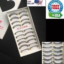 10 Pairs False Eyelashes Natural Long Eye Lashes Handmade Thick BLACK Makeup 504