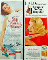 Vtg 1950 's Lady Esther face cream Halo shampoo girl advertisement print ad art