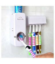 Automatic Toothpaste Dispenser +5 Toothbrush's Holder Set Wall Mounted Stand T5