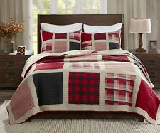 HUNTINGTON Full / Queen QUILT SET : RED BUFFALO CHECK PLAID LODGE CABIN COVERLET