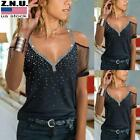 Womens Cold Shoulder Short Sleeve Tops Ladies Casual Lace V Neck Blouse T Shirt