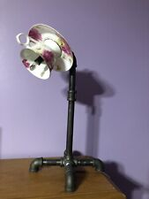 Floral Tea cup & Saucer Table Lamp Black Iron Pipe Steampunk