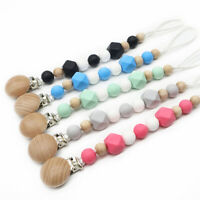 Baby Silicone Wooden Beads Pacifier Clips Dummy Soother Chain Holder Shower Gift