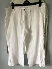Size 16 Linen three quarter white trousers.