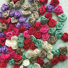 100 Satin Ribbon Rose Flower 16mm Applique Trim Sewing Bow Craft Mix 8 Color