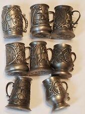 John Pinches 8 Miniature Pewter Tankard / Stein / Mug