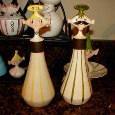 Vintage Holt Howard Sal & Sam Oil Vinegar Pixie Cruet Dressing Bottles Pixieware