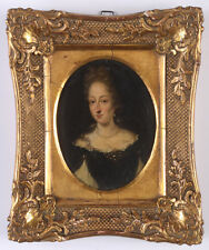 """""""Portrait of a noblewoman"""", French oil on copper miniature, ca. 1700"""