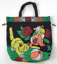 Vintage Mirco Beaded Cat Purse Bag Neon Multi-Color Drawstring Closure Floral